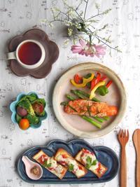 サーモンソテー朝ごはん - 陶器通販・益子焼 雑貨手作り陶器のサイトショップ 木のねのブログ