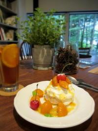 森のカフェ・軽井沢 * あんずのパブロバとレモンのオープンサンド♪ - ぴきょログ~軽井沢でぐーたら生活~