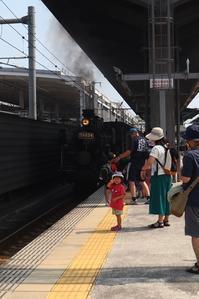 藤田八束の鉄道写真@熊本駅での子供達とSL人吉号、子供たちに大人気の蒸気機関車SL人吉号・・・・熊本は元気いっぱい - 藤田八束の日記