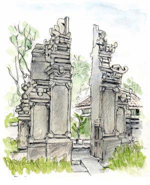 1 寺院・建造物 - バリ島のスケッチ画