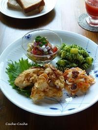 鶏ささみのアーモンド揚げと、作りおきソースでちょこちょこワンプレート♪ - Cache-Cache+