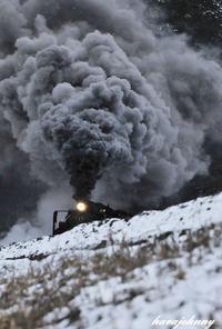 雪とヘッドマーク隠し - 夕暮れと蒸気をおいかけて・・・