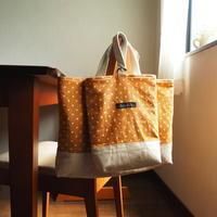 こっくりオレンジ色のドット柄☆レッスンバッグと上靴袋 - micco yucco