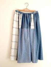 綿麻混のパッチワークのスカート - cous cous NEW ARRIVAL