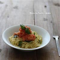 トマトとバジルの冷製パスタ - ふみえ食堂  - a table to be full of happiness -