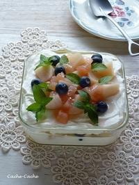 桃とブルーベリーのスコップケーキ - Cache-Cache+
