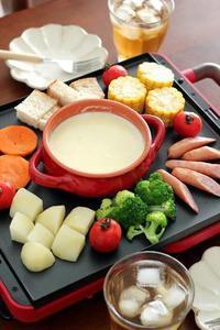 平面プレートでチーズフォンデュ - Takacoco Kitchen