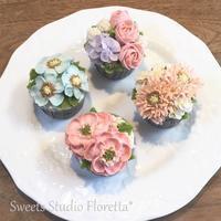 ALA餡クリームフラワーカップケーキ2を受講しました - Sweets Studio Floretta* Flower Cake & Sweets Class@SHIGA