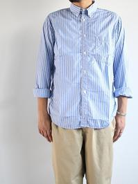 Sans limiteTWIN NEEDLE B.D SHIRT / END ON END STRIPE - 『Bumpkins putting on airs』