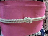 レトロなピンクの帯にビーズの帯締め。 - 京都嵐山 着物レンタル「遊月]・・・徒然日記