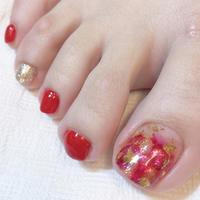 カッコいい赤でペディ - 札幌駅近くのジェルネイルサロン☆nailedit:ネイルエディット