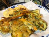 8月7日、ゴーヤのかき揚げ、野菜天ぷら、桜えび出しの冬瓜汁 - 今夜のおかず