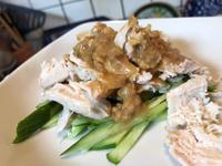 8月10日、鶏胸肉と胡瓜に胡麻味噌ダレ、ポテトサラダ - 今夜のおかず