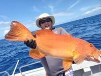 スジアラ大ダイヒラマサGet - 五島列島 遊漁船 MANA 釣果情報 ヒラマサ キャスティング ジギング