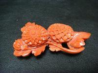 アンティーク珊瑚の帯留め菊の図 - アンティーク(骨董) テンナイン