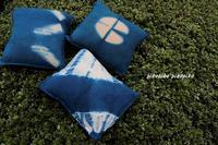 草木染藍染クッションと手拭&ハンカチ - 今が一番