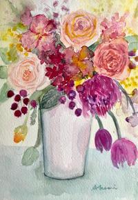 薔薇とチューリップ(水彩画) - 夏目明美作品集*油絵・水彩画