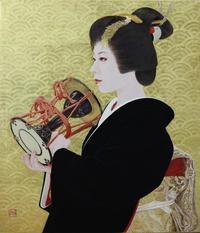 「鼓の音」10号日本画岩絵の具、金箔、紙本 モデル祇園東涼香さん2021年(再来年)1月、個展会場で展示予定。 - 黒川雅子のデッサン  BLOG版