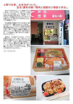 上野で仕事。お弁当がついた。吉池「豚肉と銀鮭の2種盛り弁当」。