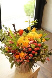 お誕生日の花奥様へ9.12 - 北赤羽花屋ソレイユの日々の花