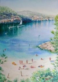 穏やかな青い海 - まり子の水彩画