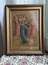 天使の絵入り木製金彩額935 - スペイン・バルセロナ・アンティーク gyu's shop