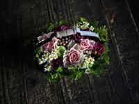 お誕生日のハンドル付きタルト型アレンジメント。「かわいい」。水車町4にお届け。2019/09/10。 - 札幌 花屋 meLL flowers