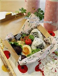 使い捨て容器で明太子おにぎり弁当と~♪ - ☆Happy time☆
