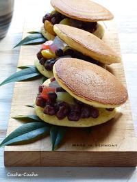 ケーキのようなHMでふんわり♪ フルーツみつ豆どら焼き - キッチンで猫と・・・