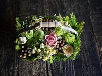 お誕生日のハンドル付きタルト型アレンジメント。「かわいい」。2019/09/16。 - 札幌 花屋 meLL flowers