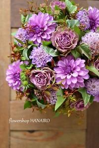 男性に贈るダリア「ムーンストーン」を使ったフラワーアレンジメント。 - 花色~あなたの好きなお花屋さんになりたい~