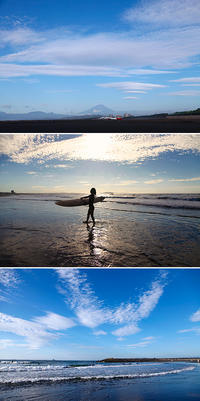 2019/09/24(TUE) 蒸し暑い朝ですが秋空に富士山が見えます。 - SURF RESEARCH