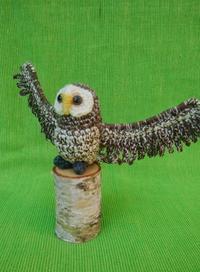 新作小鳥① - 手編みバッグと南部菱刺し『グルグルと菱』