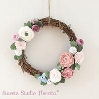 クレイ(粘土)お花絞りでリース作りピンク系とパープル系 - Sweets Studio Floretta* Flower Cake & Sweets Class@SHIGA