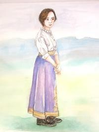 人物画ラベンダー色のスカート - バラのある幸せな暮らし研究所