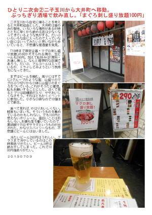 ひとり二次会②二子玉川から大井町へ移動。  ぶっちぎり酒場で飲み直し。「まぐろ刺し盛り放題100円」