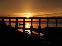長門海岸の落日 - 大山山麓、山、滝、鉄道風景
