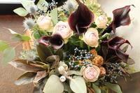 奥様へお誕生日の花黒のカラー - 北赤羽花屋ソレイユの日々の花