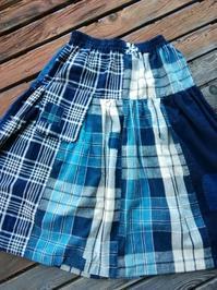 スカートをリメイク(ティアード)ウエスト部分すっきり・・・柿渋染に - 藍ちくちく日記