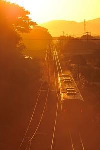 快晴の夜明け - 大山山麓、山、滝、鉄道風景