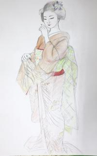 上七軒舞妓さんモデル市彩ちゃん大きさB2 - 黒川雅子のデッサン  BLOG版
