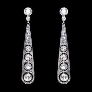 N°0990 ダイヤモンドのロングピアス / アンティークジュエリー - ◆ ルーヴルアンティーク ◆  フランス アンティークジュエリー & オブジェ