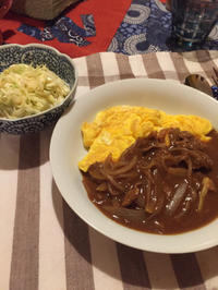 やっと買い物して、オムハヤシ - 地上50mでも野菜はできました、そして3mへ