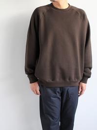 unfilcotton-terry crew neck pullover / dark brown - 『Bumpkins putting on airs』
