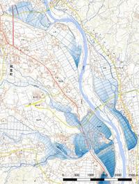 令和元年台風19号那珂川の浸水推定段彩図 - みとぶら