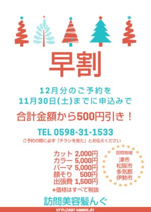 12月のご予約はお早めに☆今なら早割キャンペーン中! - 三重県 訪問美容/医療用ウィッグ  訪問美容髪んぐのブログ