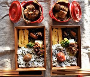 今日の弁当「豚の角煮」弁当 - 手作りお菓子のお店「chiffon chiffon」