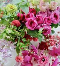 松屋銀座レッスン創業150周年のお祝いも兼ねてお祝いのお席のTable wreatheを製作しました - Bouquets_ryoko