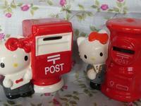 キティちゃんの郵便ポスト型貯金箱と、絵はがき。 - ミモザアカシアの日々