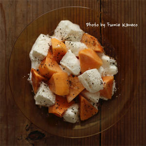 柿とモッツアレラのサラダ - ふみえ食堂  - a table to be full of happiness -